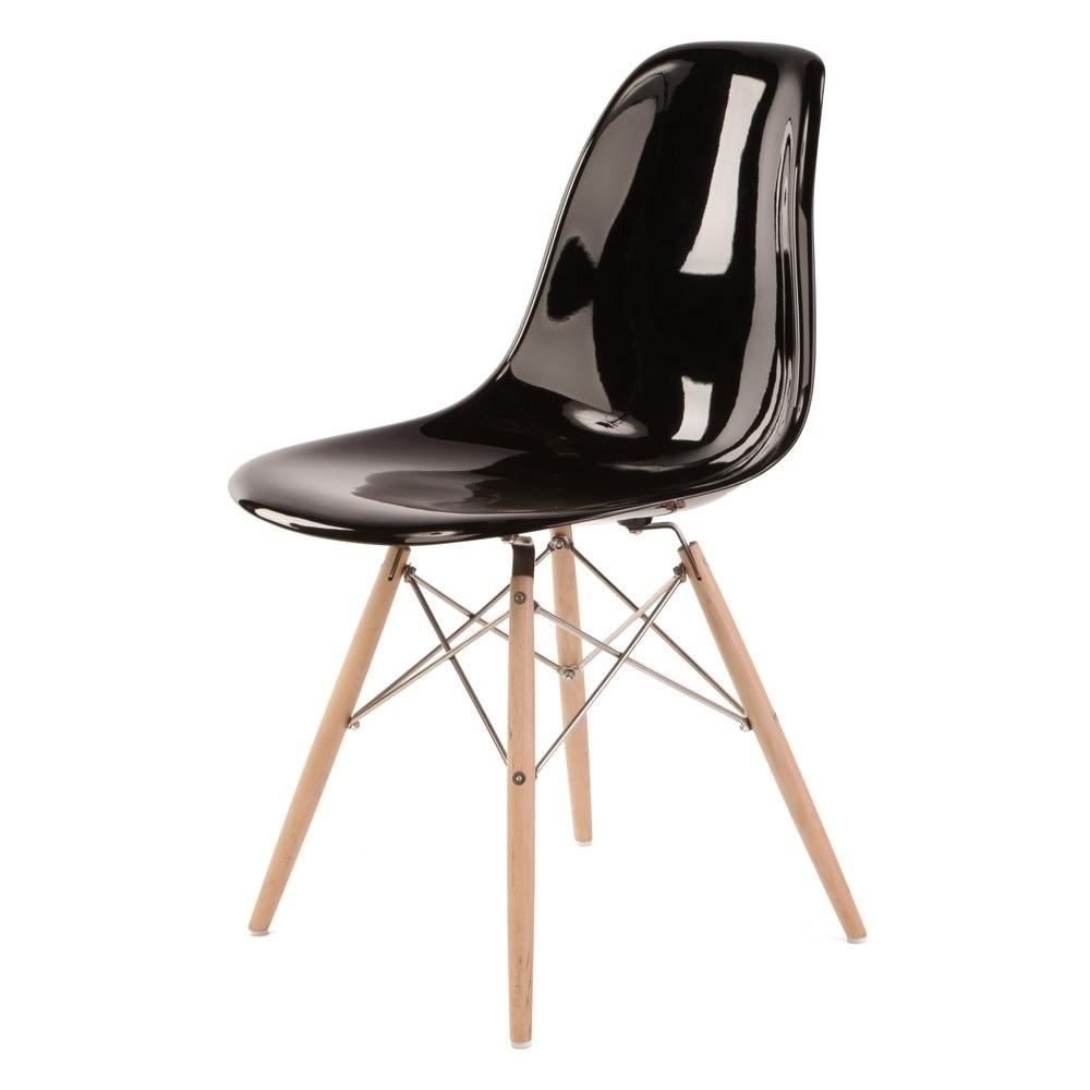 silla de comedor DD DSW Fibra de vidrio Negro