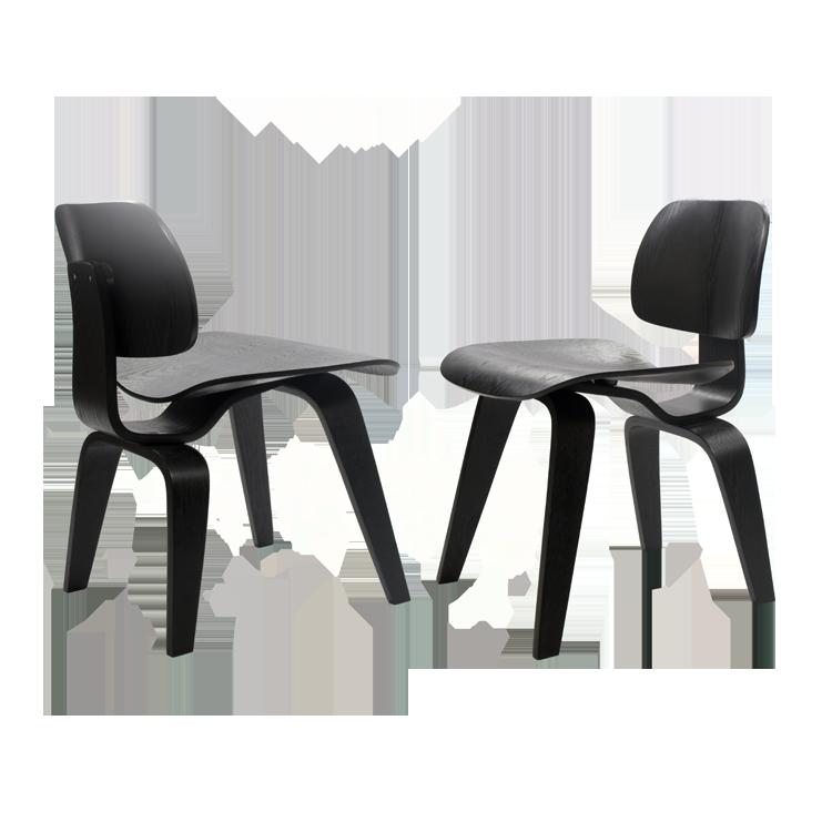 silla de comedor DCW Negro