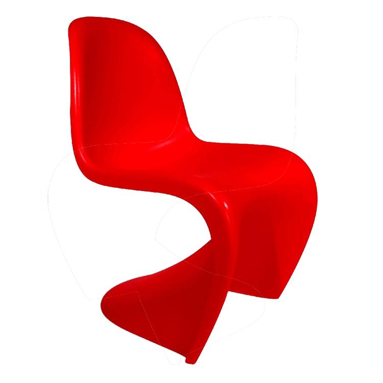 silla de comedor silla Panton rojo