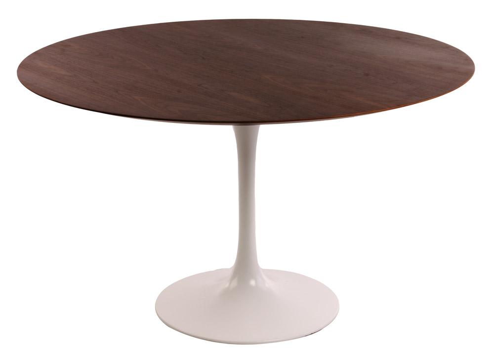 Eero saarinen eetkamer tafel tulip table 120cm top walnoot tafelpoot wit design outlet - Tafel eetkamer ontwerp wit ...